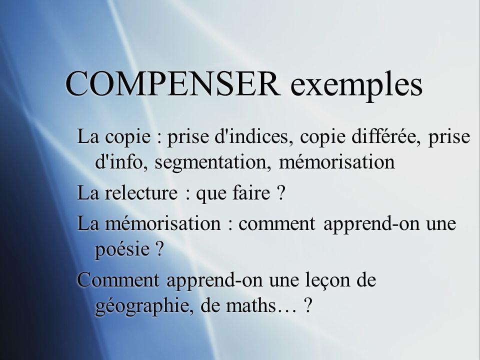 COMPENSER exemples La copie : prise d'indices, copie différée, prise d'info, segmentation, mémorisation La relecture : que faire ? La mémorisation : c