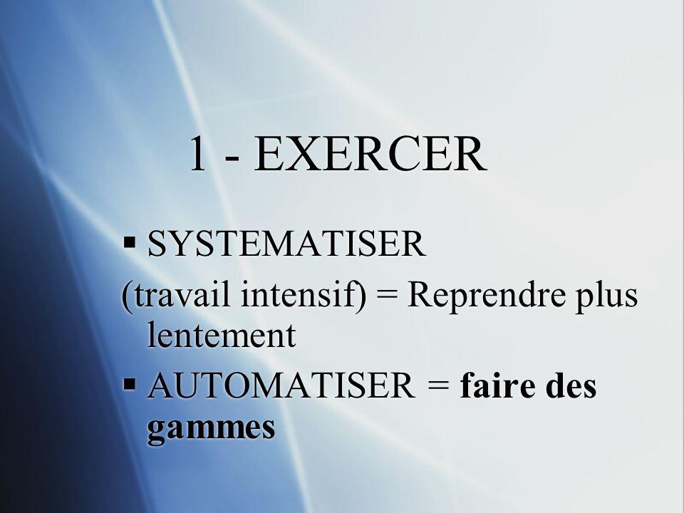 1 - EXERCER SYSTEMATISER (travail intensif) = Reprendre plus lentement AUTOMATISER = faire des gammes SYSTEMATISER (travail intensif) = Reprendre plus lentement AUTOMATISER = faire des gammes