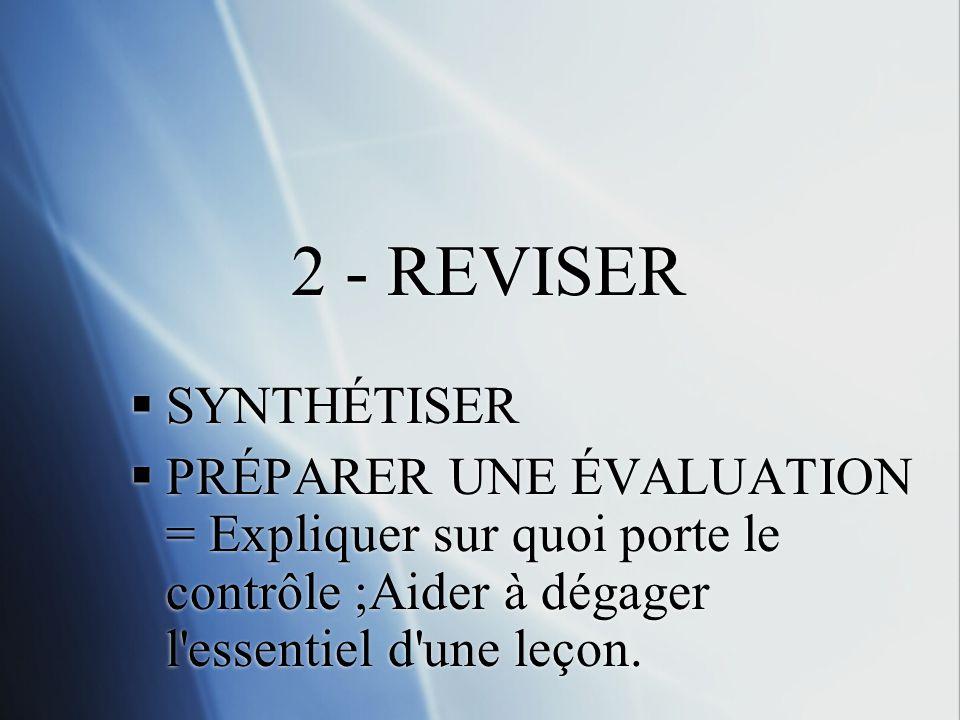 2 - REVISER SYNTHÉTISER PRÉPARER UNE ÉVALUATION = Expliquer sur quoi porte le contrôle ;Aider à dégager l'essentiel d'une leçon. SYNTHÉTISER PRÉPARER