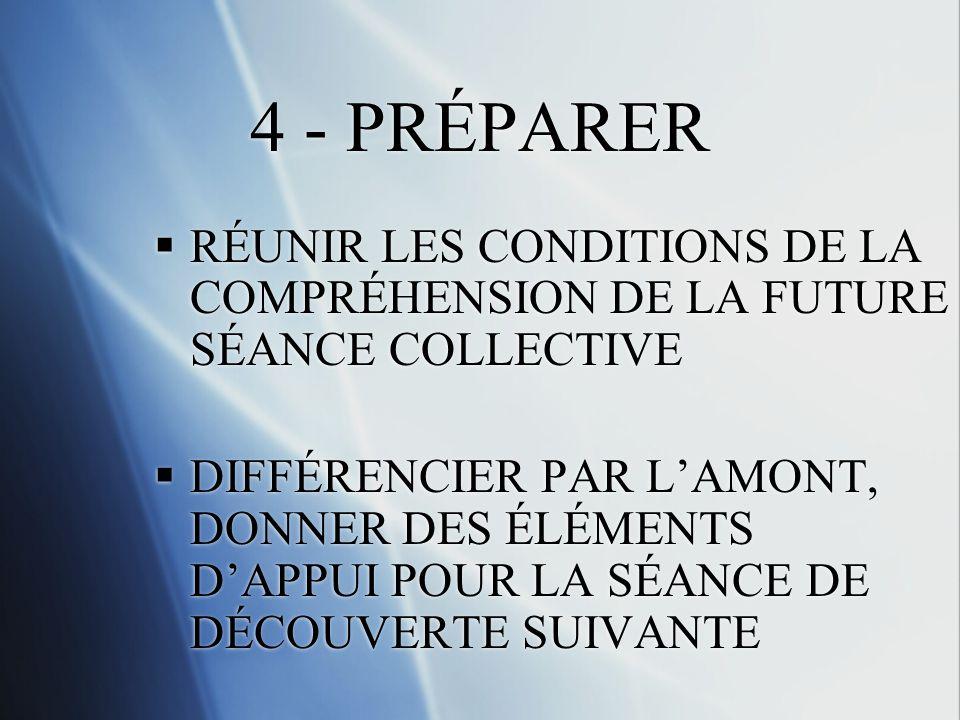 4 - PRÉPARER RÉUNIR LES CONDITIONS DE LA COMPRÉHENSION DE LA FUTURE SÉANCE COLLECTIVE DIFFÉRENCIER PAR LAMONT, DONNER DES ÉLÉMENTS DAPPUI POUR LA SÉANCE DE DÉCOUVERTE SUIVANTE RÉUNIR LES CONDITIONS DE LA COMPRÉHENSION DE LA FUTURE SÉANCE COLLECTIVE DIFFÉRENCIER PAR LAMONT, DONNER DES ÉLÉMENTS DAPPUI POUR LA SÉANCE DE DÉCOUVERTE SUIVANTE