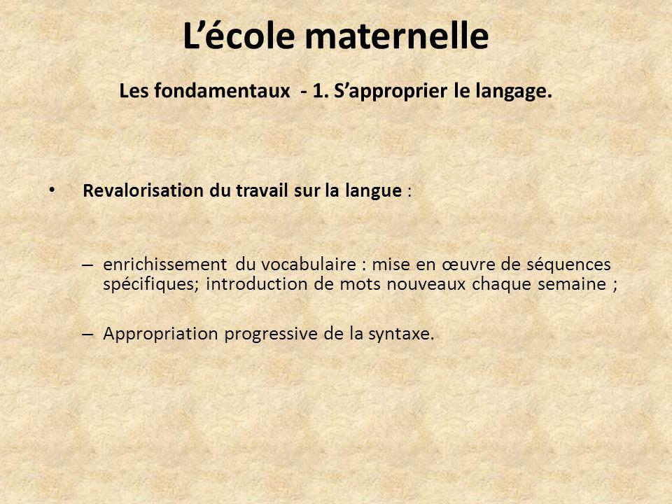 Lécole maternelle Les fondamentaux - 1. Sapproprier le langage.
