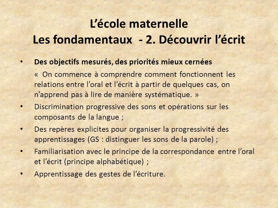 Lécole maternelle Les fondamentaux - 2.