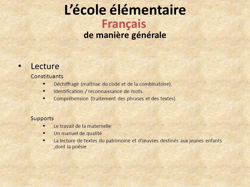Lecture Constituants Déchiffrage (maîtrise du code et de la combinatoire).