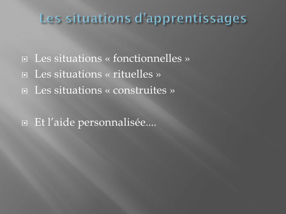 Les situations « fonctionnelles » Les situations « rituelles » Les situations « construites » Et laide personnalisée....