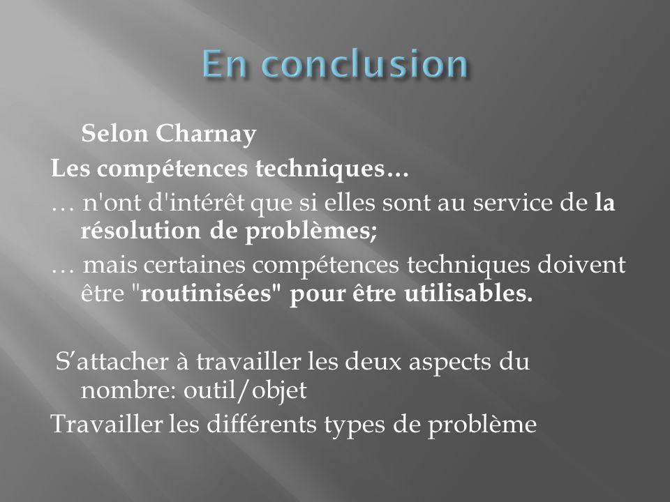 Selon Charnay Les compétences techniques… … n ont d intérêt que si elles sont au service de la résolution de problèmes; … mais certaines compétences techniques doivent être routinisées pour être utilisables.