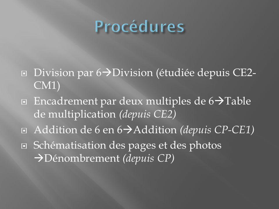 Division par 6 Division (étudiée depuis CE2- CM1) Encadrement par deux multiples de 6 Table de multiplication (depuis CE2) Addition de 6 en 6 Addition (depuis CP-CE1) Schématisation des pages et des photos Dénombrement (depuis CP)