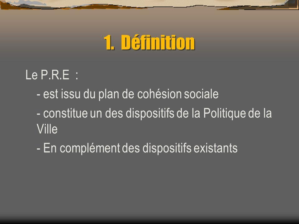 1. Définition Le P.R.E : - est issu du plan de cohésion sociale - constitue un des dispositifs de la Politique de la Ville - En complément des disposi