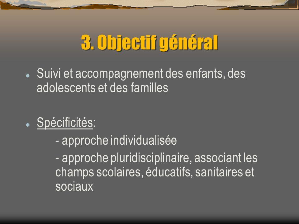 3. Objectif général Suivi et accompagnement des enfants, des adolescents et des familles Spécificités: - approche individualisée - approche pluridisci
