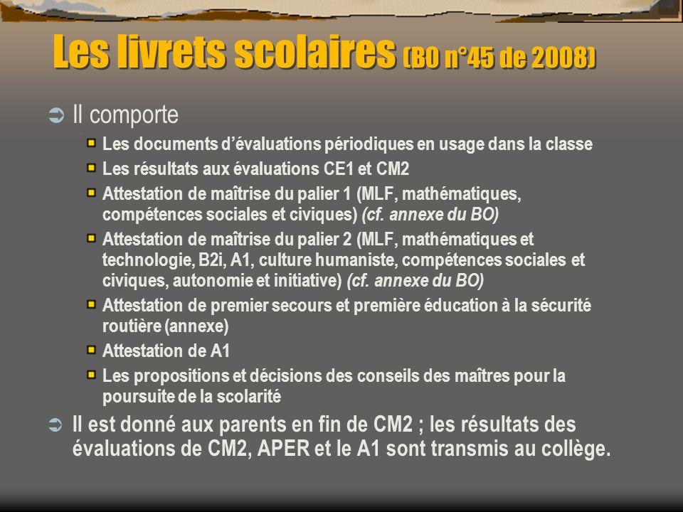 Les livrets scolaires (B0 n°45 de 2008) Il comporte Les documents dévaluations périodiques en usage dans la classe Les résultats aux évaluations CE1 et CM2 Attestation de maîtrise du palier 1 (MLF, mathématiques, compétences sociales et civiques) (cf.