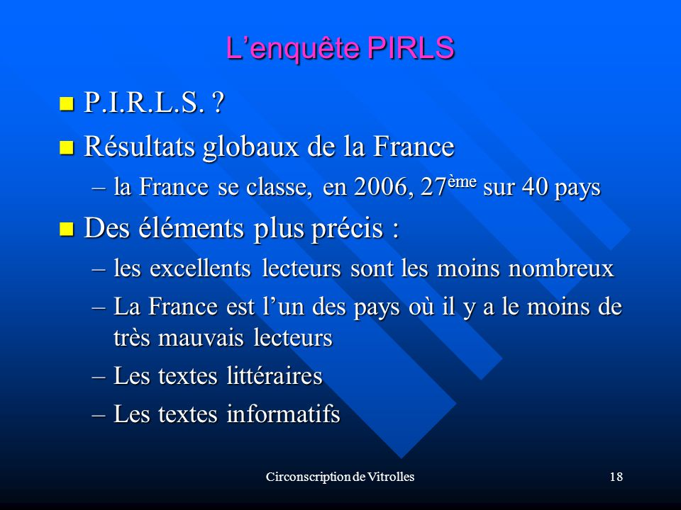 Circonscription de Vitrolles18 Lenquête PIRLS P.I.R.L.S.