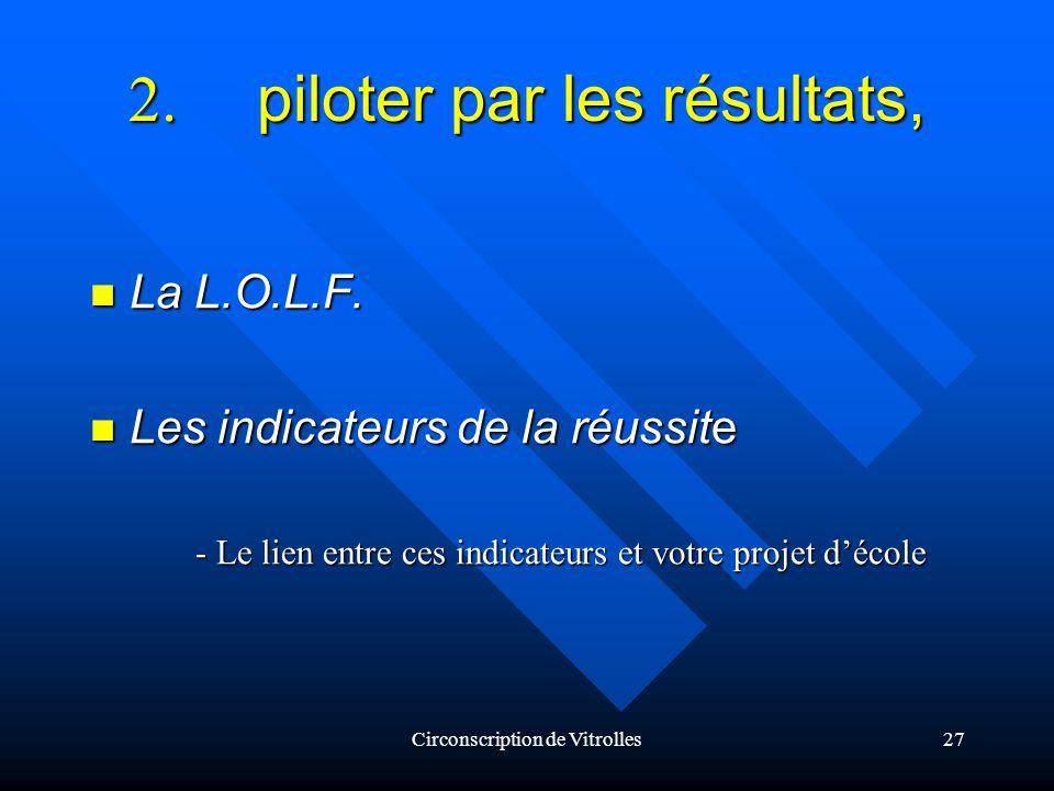 Circonscription de Vitrolles27 2. piloter par les résultats, La L.O.L.F.