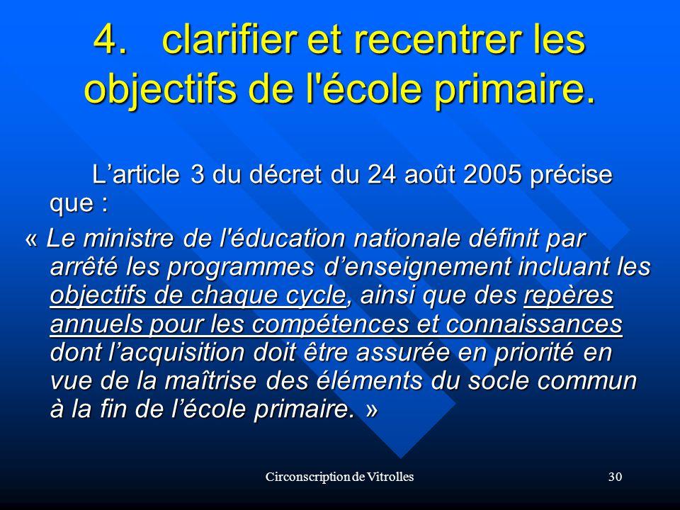 Circonscription de Vitrolles30 4.clarifier et recentrer les objectifs de l école primaire.