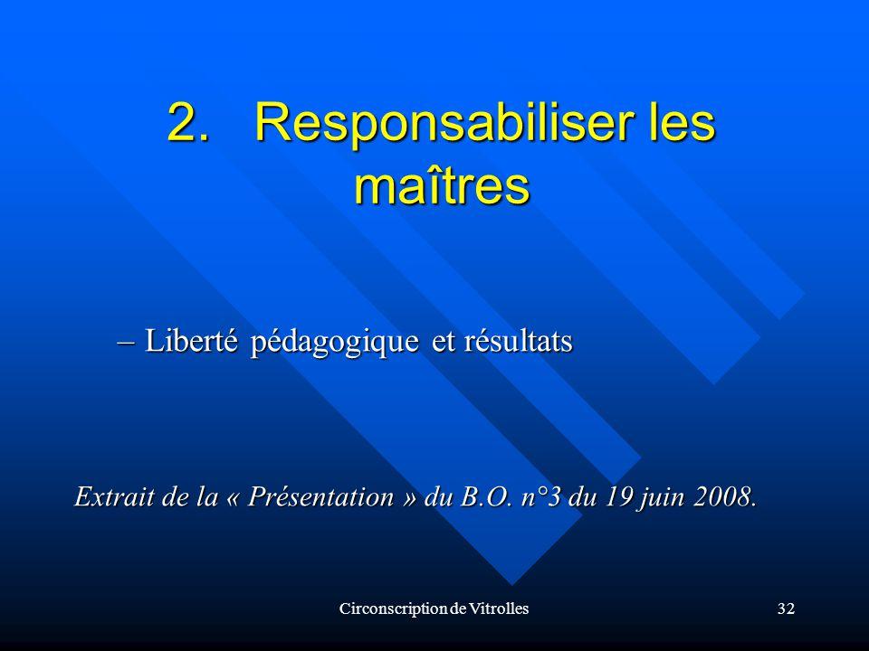 Circonscription de Vitrolles32 2.Responsabiliser les maîtres –Liberté pédagogique et résultats Extrait de la « Présentation » du B.O.