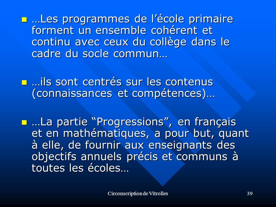 Circonscription de Vitrolles39 …Les programmes de lécole primaire forment un ensemble cohérent et continu avec ceux du collège dans le cadre du socle commun… …Les programmes de lécole primaire forment un ensemble cohérent et continu avec ceux du collège dans le cadre du socle commun… …ils sont centrés sur les contenus (connaissances et compétences)… …ils sont centrés sur les contenus (connaissances et compétences)… …La partie Progressions, en français et en mathématiques, a pour but, quant à elle, de fournir aux enseignants des objectifs annuels précis et communs à toutes les écoles… …La partie Progressions, en français et en mathématiques, a pour but, quant à elle, de fournir aux enseignants des objectifs annuels précis et communs à toutes les écoles…