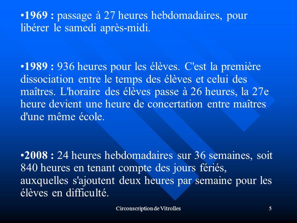 Circonscription de Vitrolles5 1969 : passage à 27 heures hebdomadaires, pour libérer le samedi après-midi.
