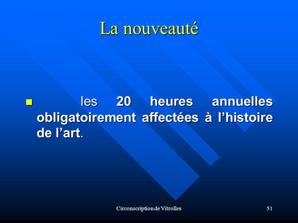 Circonscription de Vitrolles51 La nouveauté les 20 heures annuelles obligatoirement affectées à lhistoire de lart.