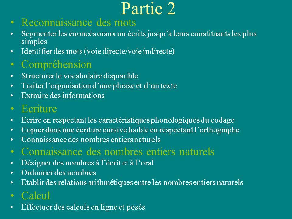 2 Partie 2 Concerne les élèves ayant des difficultés dans tous les champs ou dans certains champs Entre 1 et 20 exercices (le nombre est lié aux résultats de la partie 1) Epreuves spécifiques et lecture à haute voix individuelle.
