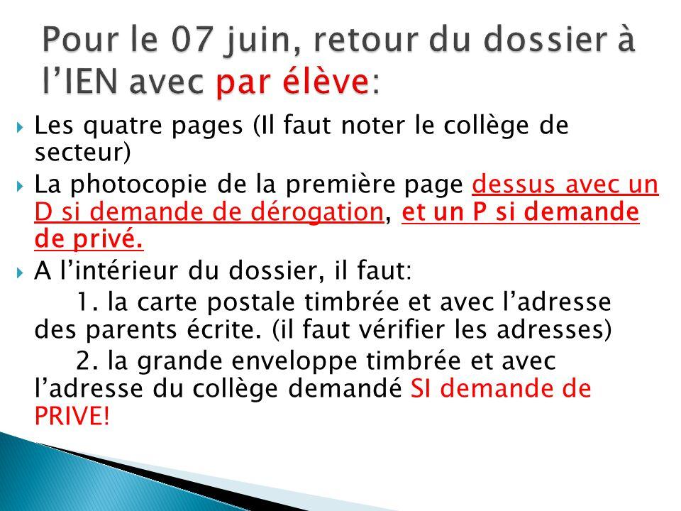 Les quatre pages (Il faut noter le collège de secteur) La photocopie de la première page dessus avec un D si demande de dérogation, et un P si demande de privé.