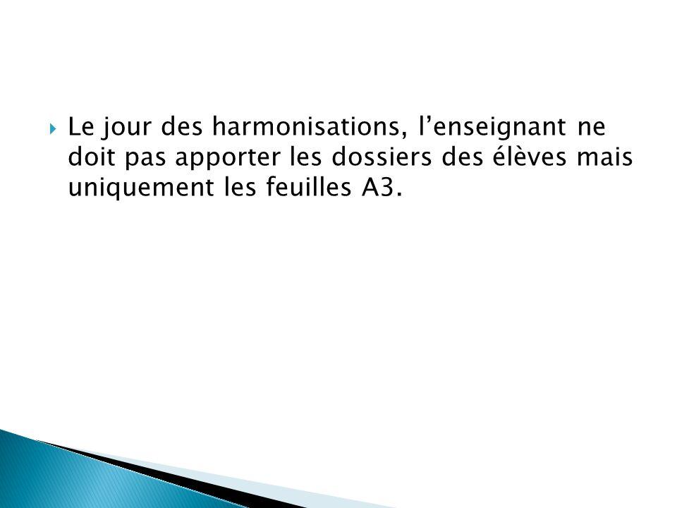 Le jour des harmonisations, lenseignant ne doit pas apporter les dossiers des élèves mais uniquement les feuilles A3.