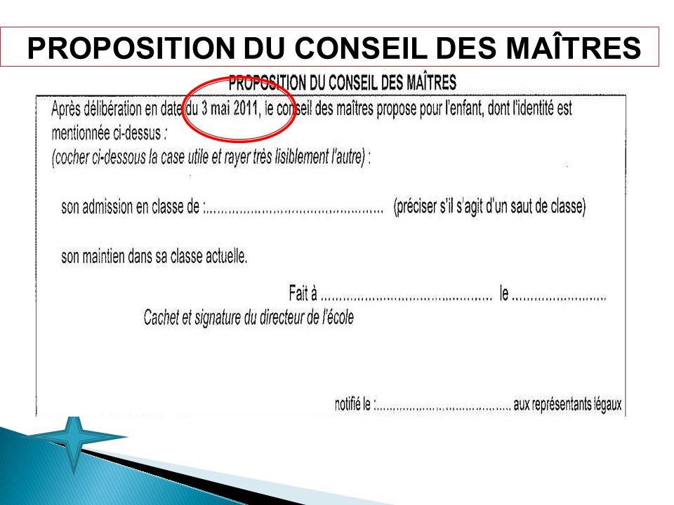PROPOSITION DU CONSEIL DES MAÎTRES