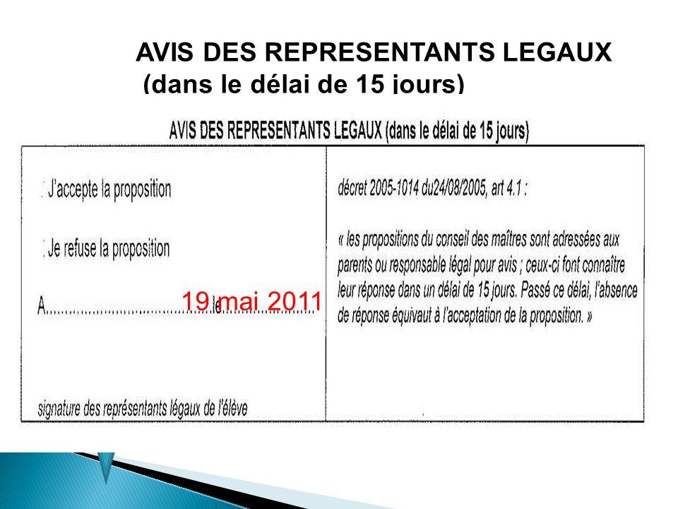 AVIS DES REPRESENTANTS LEGAUX (dans le délai de 15 jours) 19 mai 2011