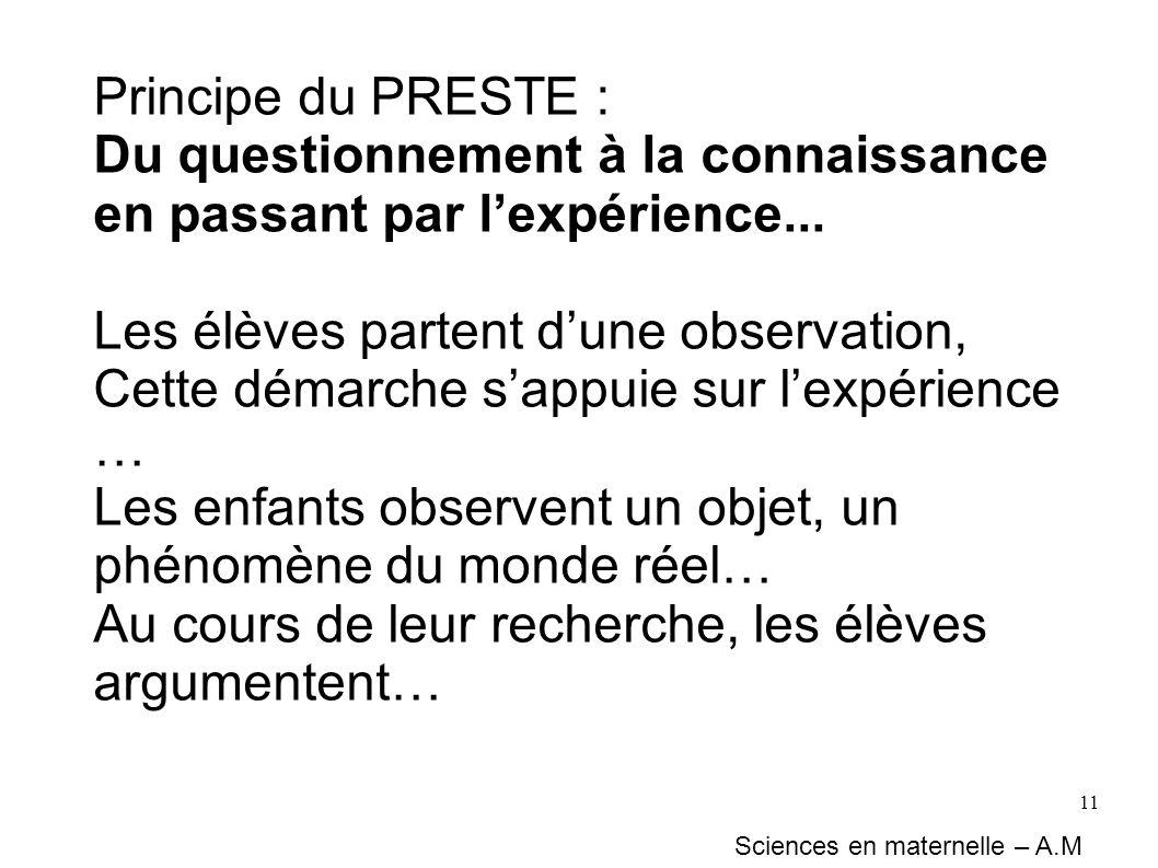 11 Principe du PRESTE : Du questionnement à la connaissance en passant par lexpérience... Les élèves partent dune observation, Cette démarche sappuie