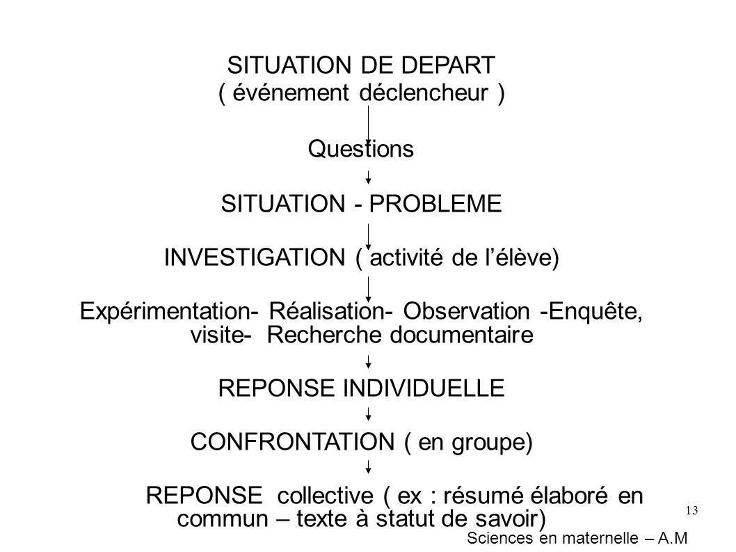13 SITUATION DE DEPART ( événement déclencheur ) Questions SITUATION - PROBLEME INVESTIGATION ( activité de lélève) Expérimentation- Réalisation- Obse