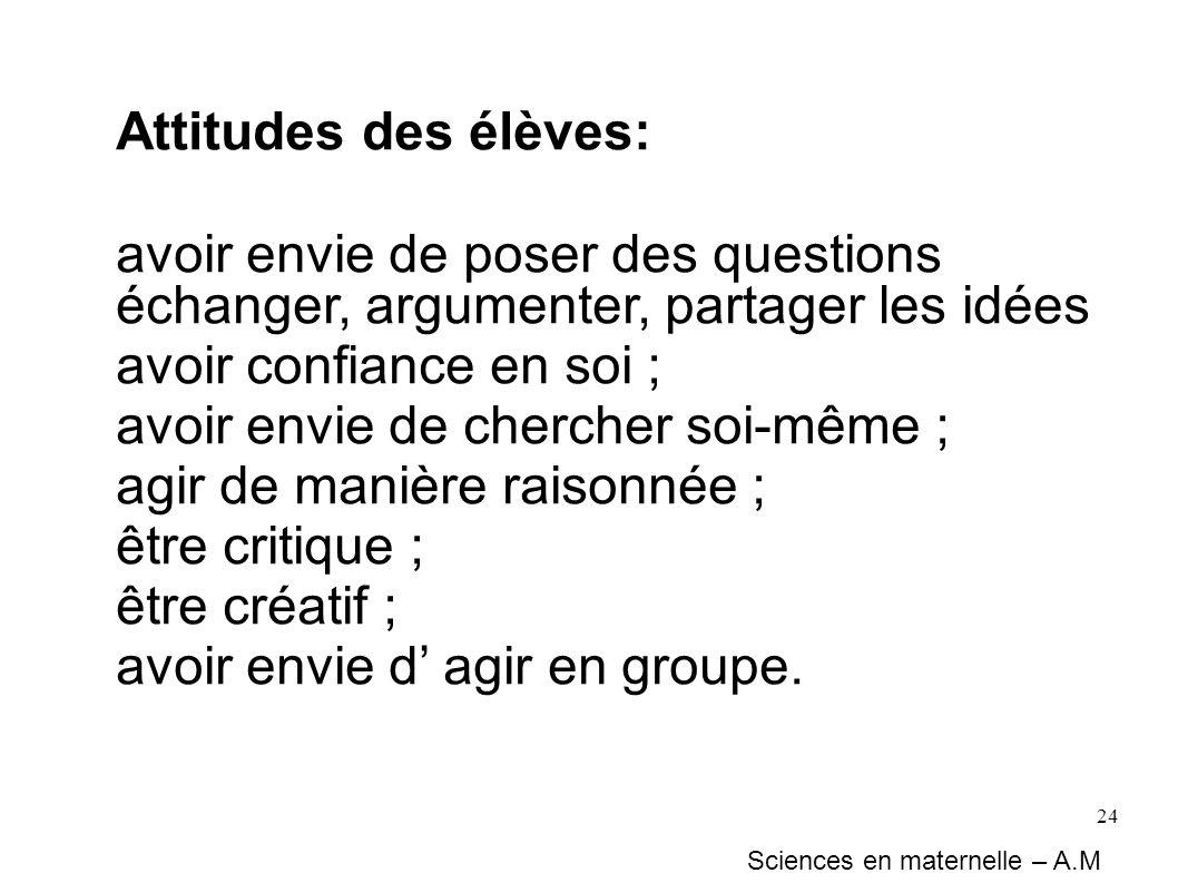 24 Attitudes des élèves: avoir envie de poser des questions échanger, argumenter, partager les idées avoir confiance en soi ; avoir envie de chercher