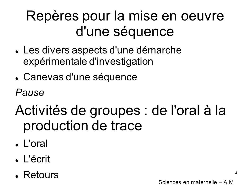 4 Repères pour la mise en oeuvre d'une séquence Les divers aspects d'une démarche expérimentale d'investigation Canevas d'une séquence Pause Activités