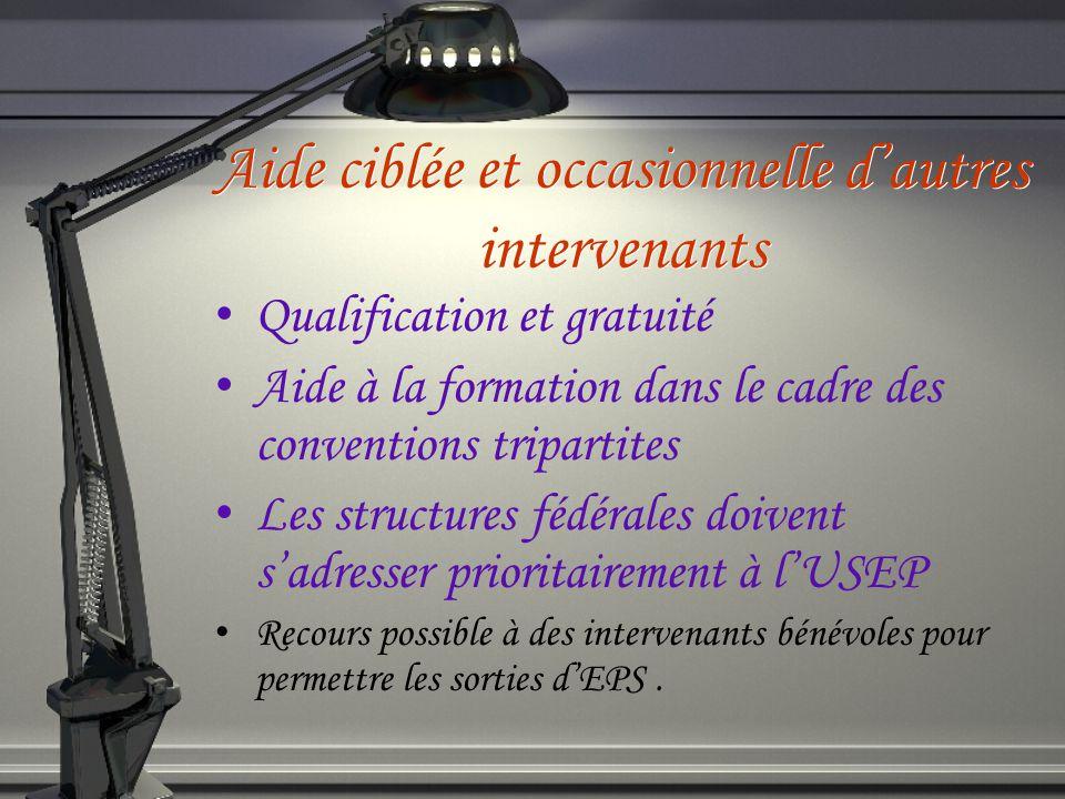 Aide ciblée et occasionnelle dautres intervenants Qualification et gratuité Aide à la formation dans le cadre des conventions tripartites Les structur