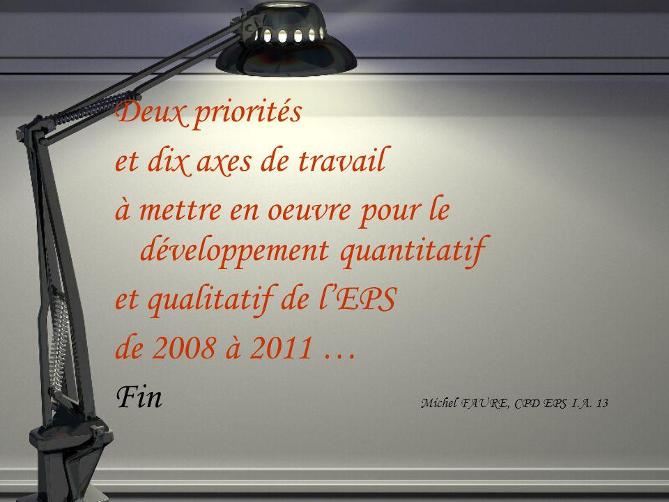 Deux priorités et dix axes de travail à mettre en oeuvre pour le développement quantitatif et qualitatif de lEPS de 2008 à 2011 … Fin Michel FAURE, CPD EPS I.A.