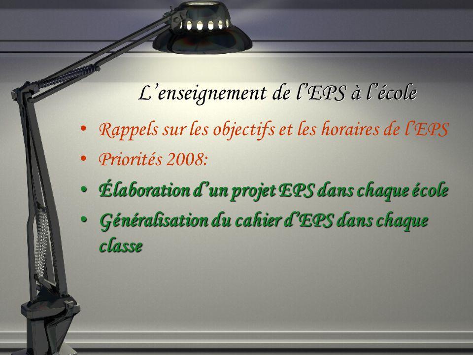 Lenseignement de lEPS à lécole Rappels sur les objectifs et les horaires de lEPS Priorités 2008: Élaboration dun projet EPS dans chaque école Élaborat