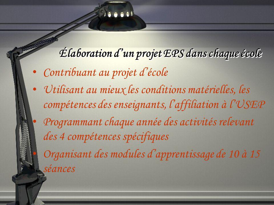 Élaboration dun projet EPS dans chaque école Contribuant au projet décole Utilisant au mieux les conditions matérielles, les compétences des enseignan