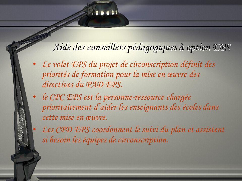Aide des conseillers pédagogiques à option EPS Le volet EPS du projet de circonscription définit des priorités de formation pour la mise en œuvre des directives du PAD EPS.