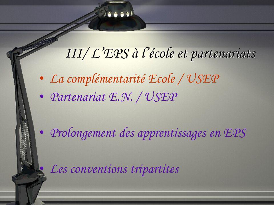 III/ LEPS à lécole et partenariats La complémentarité Ecole / USEP Partenariat E.N. / USEP Prolongement des apprentissages en EPS Les conventions trip