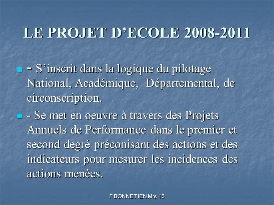 LE PROJET DECOLE 2008-2011 - Sinscrit dans la logique du pilotage National, Académique, Départemental, de circonscription.