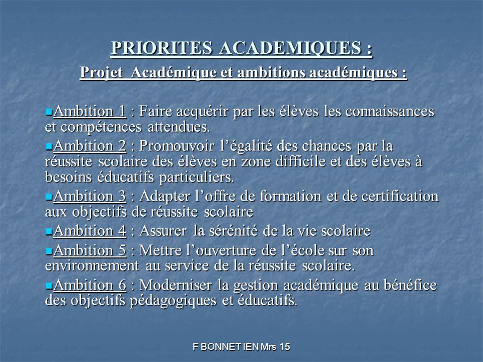 PRIORITES ACADEMIQUES : Projet Académique et ambitions académiques : Ambition 1 : Faire acquérir par les élèves les connaissances et compétences attendues.