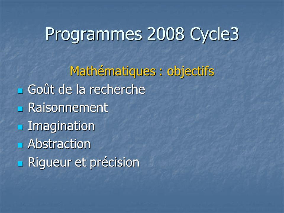 Programmes 2008 Cycle3 Mathématiques : objectifs Goût de la recherche Goût de la recherche Raisonnement Raisonnement Imagination Imagination Abstracti