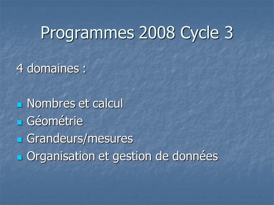 Programmes 2008 Cycle 3 4 domaines : Nombres et calcul Nombres et calcul Géométrie Géométrie Grandeurs/mesures Grandeurs/mesures Organisation et gesti