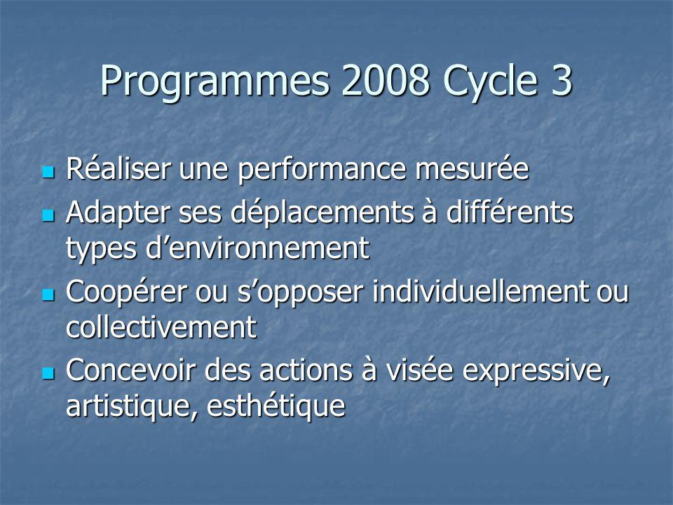 Programmes 2008 Cycle 3 Réaliser une performance mesurée Réaliser une performance mesurée Adapter ses déplacements à différents types denvironnement A