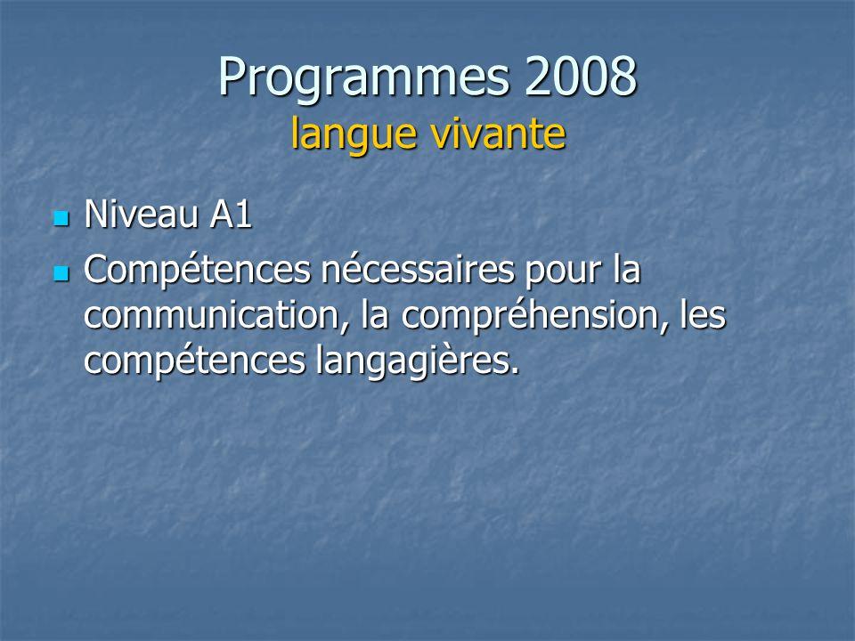 Programmes 2008 langue vivante Niveau A1 Niveau A1 Compétences nécessaires pour la communication, la compréhension, les compétences langagières. Compé