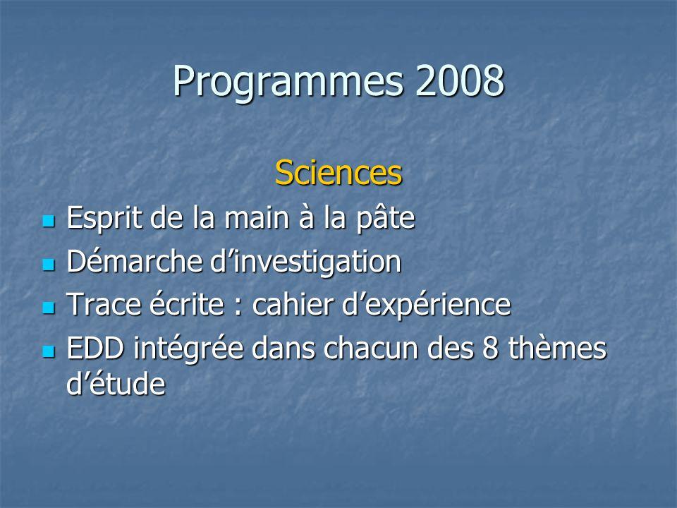 Programmes 2008 Sciences Esprit de la main à la pâte Esprit de la main à la pâte Démarche dinvestigation Démarche dinvestigation Trace écrite : cahier