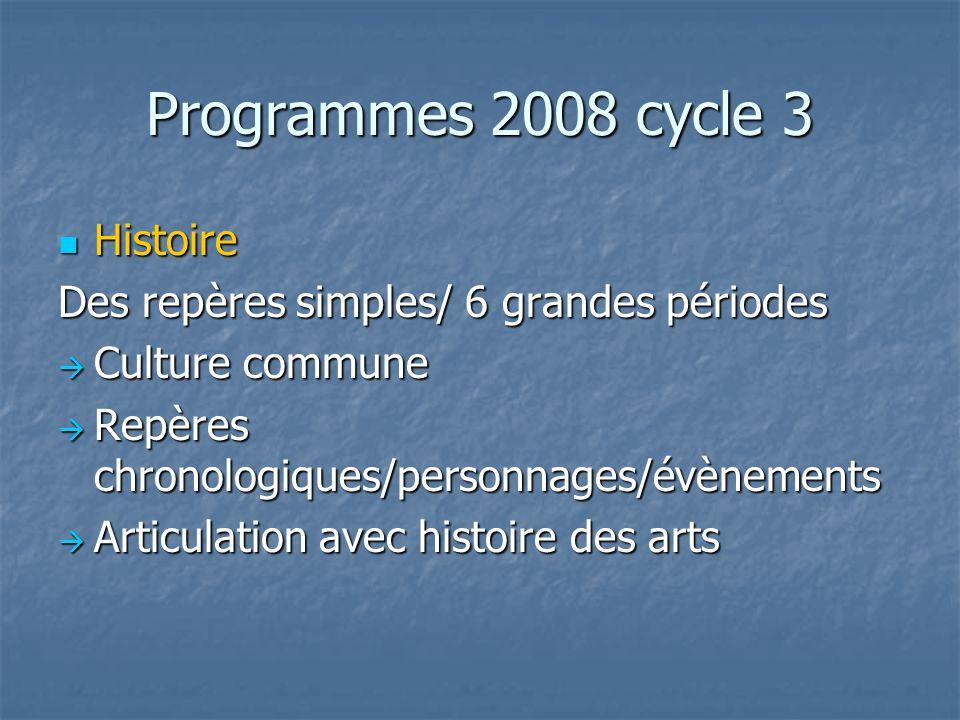 Programmes 2008 cycle 3 Histoire Histoire Des repères simples/ 6 grandes périodes Culture commune Culture commune Repères chronologiques/personnages/é