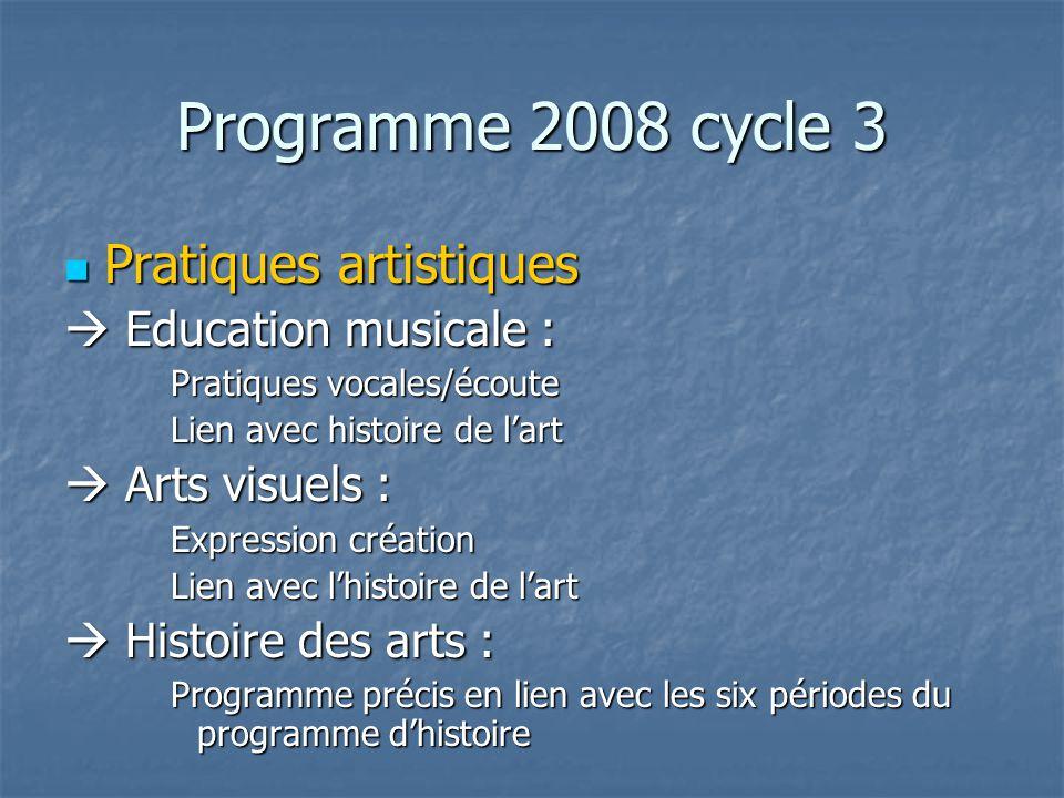 Programme 2008 cycle 3 Pratiques artistiques Pratiques artistiques Education musicale : Education musicale : Pratiques vocales/écoute Lien avec histoi