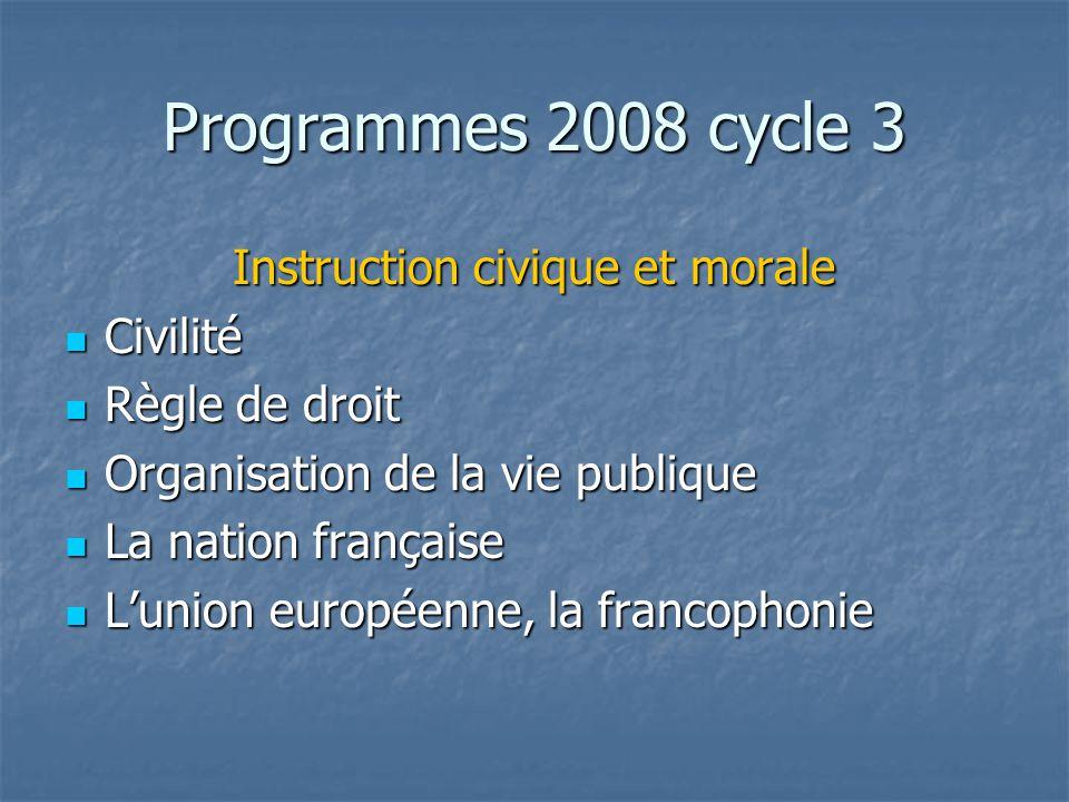Programmes 2008 cycle 3 Instruction civique et morale Civilité Civilité Règle de droit Règle de droit Organisation de la vie publique Organisation de