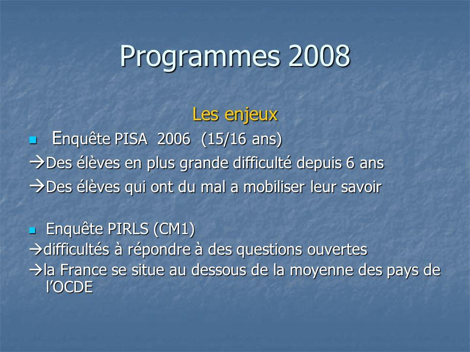 Programmes 2008 Les enjeux E nquête PISA 2006 (15/16 ans) E nquête PISA 2006 (15/16 ans) Des élèves en plus grande difficulté depuis 6 ans Des élèves
