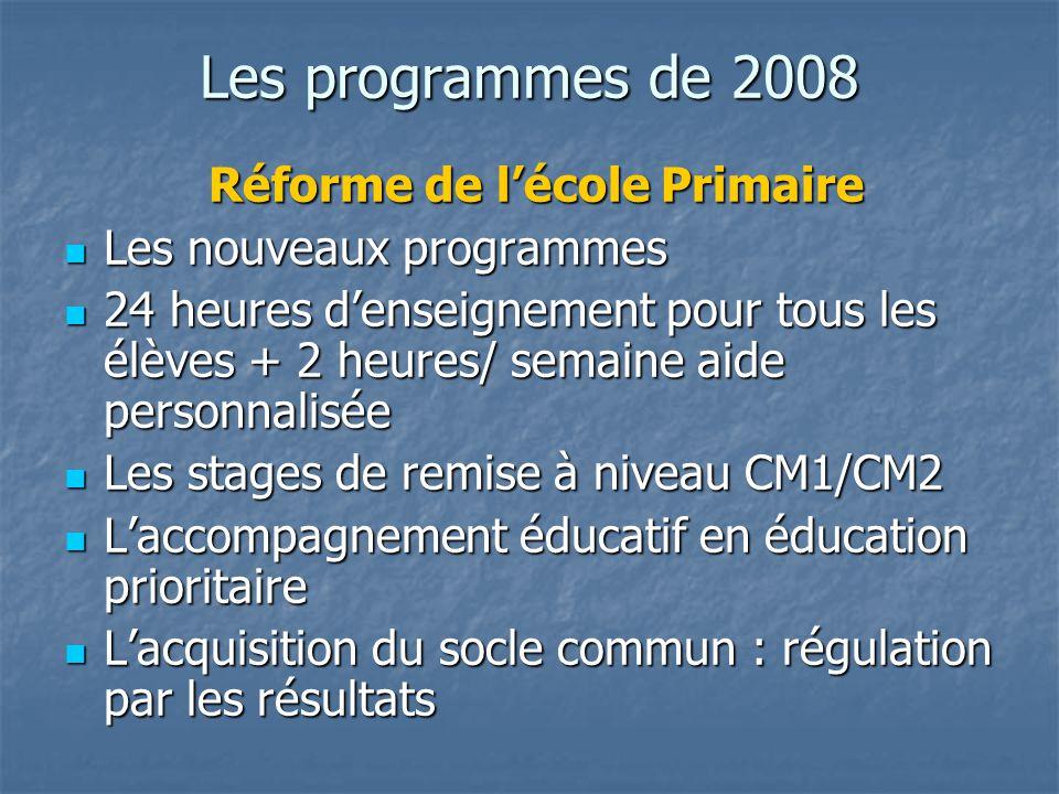 Les programmes de 2008 Réforme de lécole Primaire Réforme de lécole Primaire Les nouveaux programmes Les nouveaux programmes 24 heures denseignement p