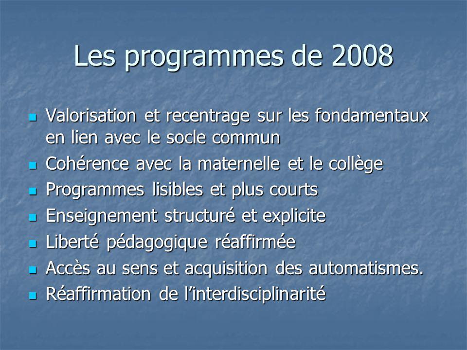 Les programmes de 2008 Valorisation et recentrage sur les fondamentaux en lien avec le socle commun Valorisation et recentrage sur les fondamentaux en
