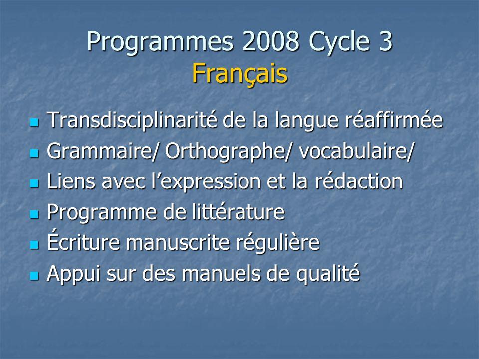 Programmes 2008 Cycle 3 Français Transdisciplinarité de la langue réaffirmée Transdisciplinarité de la langue réaffirmée Grammaire/ Orthographe/ vocab