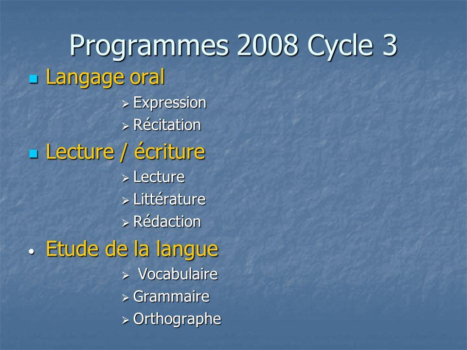 Programmes 2008 Cycle 3 Langage oral Langage oral Expression Expression Récitation Récitation Lecture / écriture Lecture / écriture Lecture Lecture Li